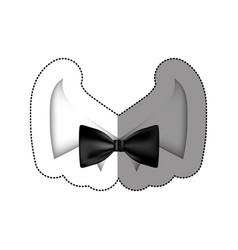 color sticker bow tie with shirt icon vector image