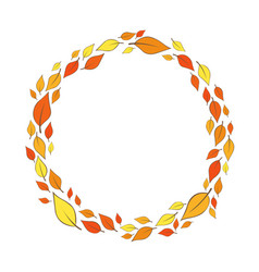 Colorful fall leaves wreath for autumn vector