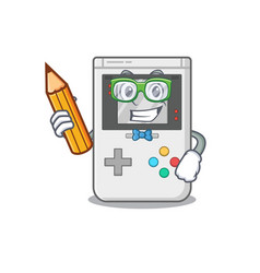 Cool smart student handheld game scroll character vector
