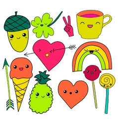 Cute hand drawn neon doodle collection vector