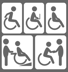 Disability people pictograms flat icons isolated vector image