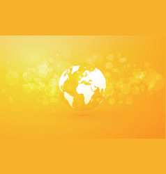 earth globe abstract bokeh yellow background vector image