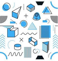 Endless pattern simple memphis style shapes vector