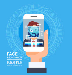 Face recognition technology smart phone scanning vector