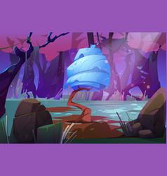 fantasy landscape with huge mushroom in forest vector image