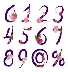 Figures and signs with spring flowers vector
