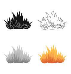 fire icon cartoon single silhouette fire vector image