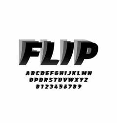 Flip style font design alphabet letters and vector