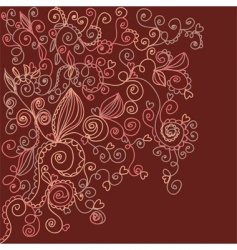 floral dark background with hearts vector image