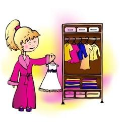 Girl dress hangs in the closet vector