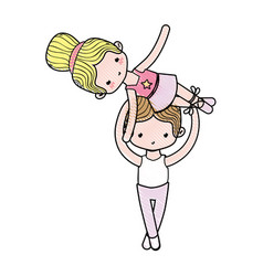 Grated couple dancing ballet with elegance clothes vector