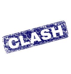 Grunge clash framed rounded rectangle stamp vector