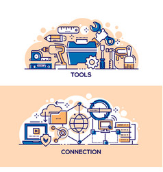 handyman tools and internet connection banner vector image