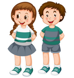 happy boy and girl vector image