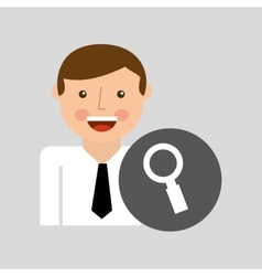 Happy man icon search social network design vector