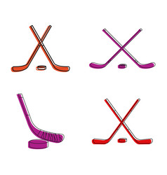 Hockey stick icon set color outline style vector