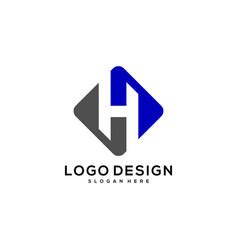 initial h logo design vector image