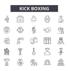 Kick boxing line icons signs set outline vector