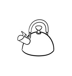 kitchen kettle hand drawn sketch icon vector image
