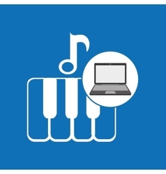 laptop music technology keyboard piano vector image