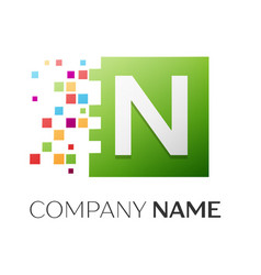 Letter n symbol in the colorful square vector