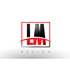 lm l m logo letters with red and black colors and vector image