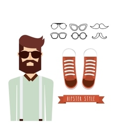 Male avatar with hipster style vector