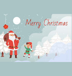 merry christmas and santa claus vector image