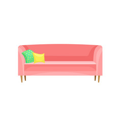 modern red sofa with pillows living room vector image