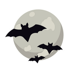 moon and bats halloween vector image