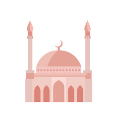 Mosque building beige color vector
