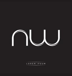 Nw initial letter split lowercase logo modern vector