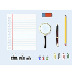 Office supplies on table vector