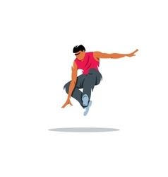 Parkour athlete jumping sign Free running youth vector image
