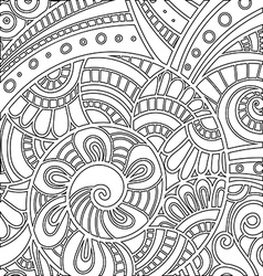 pattern with floral doodle elements vector image