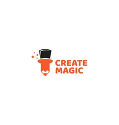 Pencil and hat magic modern logo design vector