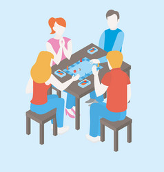 people playing a board game with cards vector image