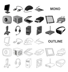 Personal computer monochrom icons in set vector