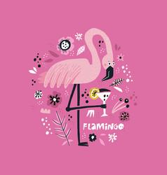 pink flamingo hand drawn poster vector image