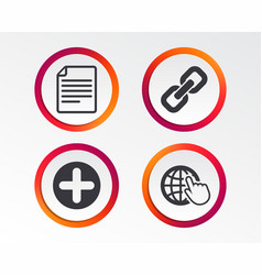 plus circle and hyperlink signs file globe vector image
