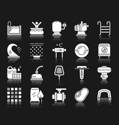Pool equipment white silhouette icons set vector