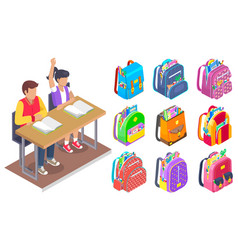 Pupils and backpack symbol school label vector