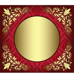 red card with golden decor in the corners vector image