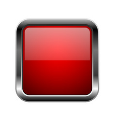 Red glass button square 3d shiny icon with metal vector