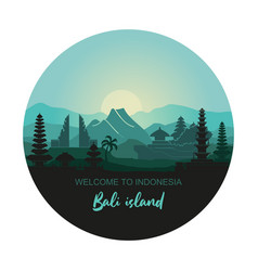 Round with abstract landscape vector