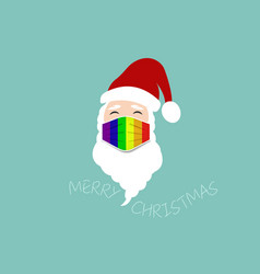 santa claus wear lgbt colorful surgical mask logo vector image