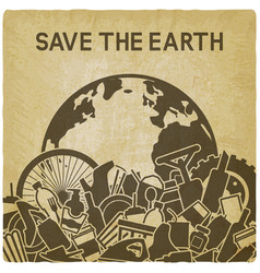 save planet concept littering planet vector image
