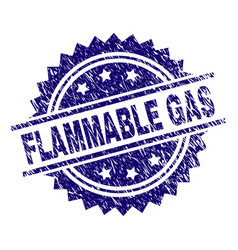Scratched textured flammable gas stamp seal vector