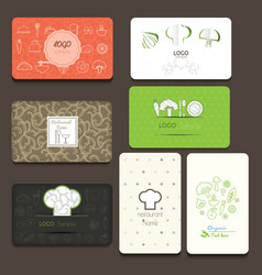 set business cards for cafe and restaurant vector image