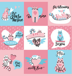 set cute creative cards with funny cats in love vector image
